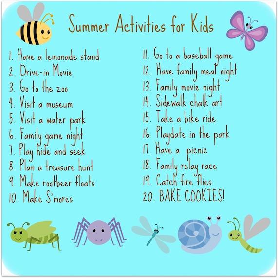 Summer Activities With Kids Carol S Cookies