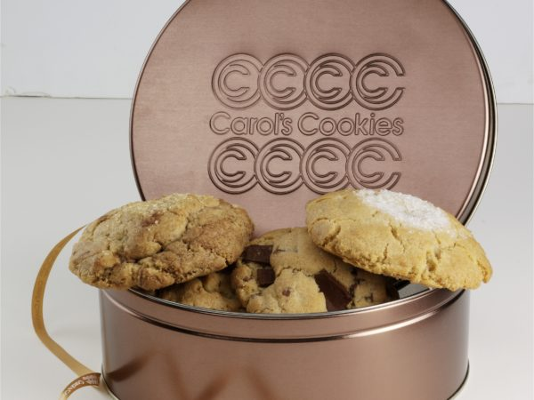 cookie gift gold tin