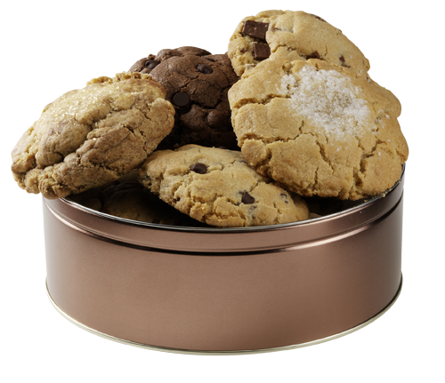 large tin of cookies